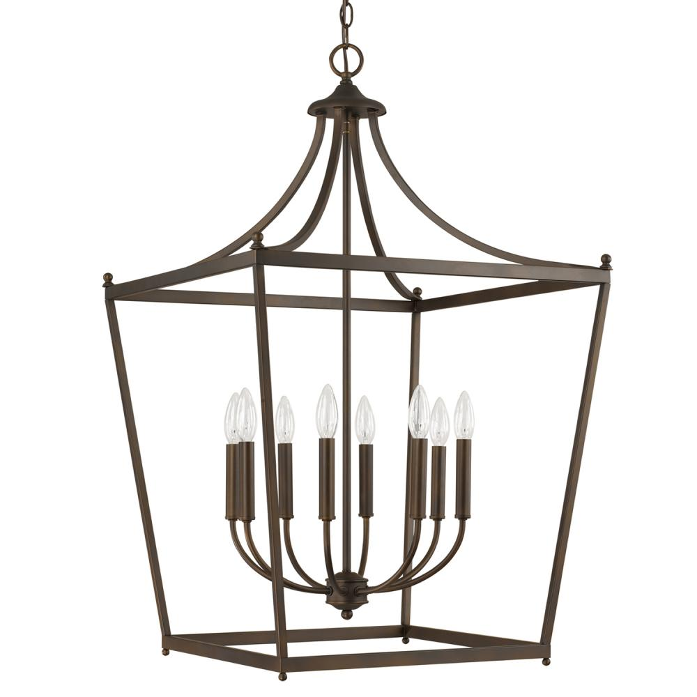 Large Foyer Lantern : Eight light burnished bronze foyer hall pendant bb