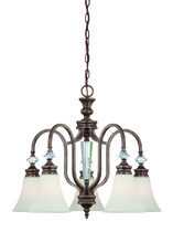 Craftmade 26725-MBS - Boulevard 5 Light Down Chandelier in Mocha Bronze/Silver Accents