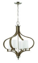 Craftmade 46724-PLNWF - Jasmine 4 Light Chandelier in Polished Nickel and Weathered Fir