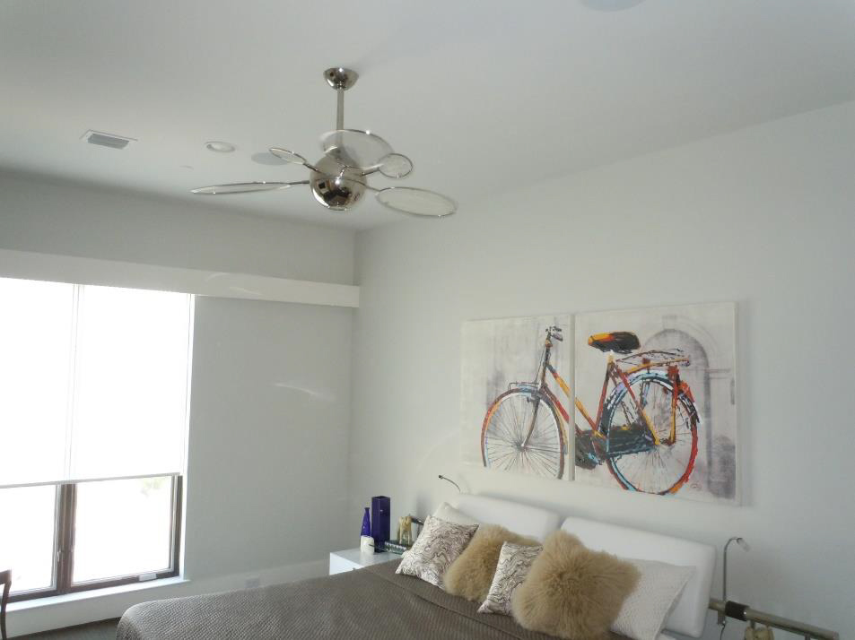 Lighting 101 ceiling fans lighting etc contemporary flair is brought to life with the minka aire cirque in this guest bedro mozeypictures Choice Image