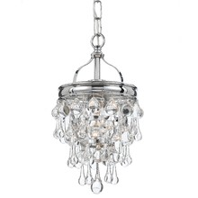 Crystorama 131-CH - 1 Light Polished Chrome Transitional Mini Chandelier Draped In Clear Glass Drops