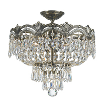 Crystorama 1483-HB-CL-MWP - 3 Light Historic Brass Crystal Ceiling Mount Draped In Clear Hand Cut Crystal
