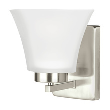 Sea Gull 4111601BLE-962 - Fluorescent Bayfield One Light Wall Sconce in Brushed Nickel with Satin Etched Glass