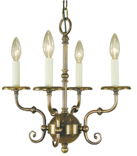 Framburg 2374 AB - 4-Light Antique Brass Jamestown Mini Chandelier