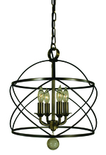 Framburg 4414 MB/AB - 4-Light Mahogany Bronze/Antique Brass Nantucket Chandelier