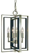 Framburg 4860 PN/MBLACK - 4-Light Polished Nickel/Matte Black Symmetry Mini Chandelier