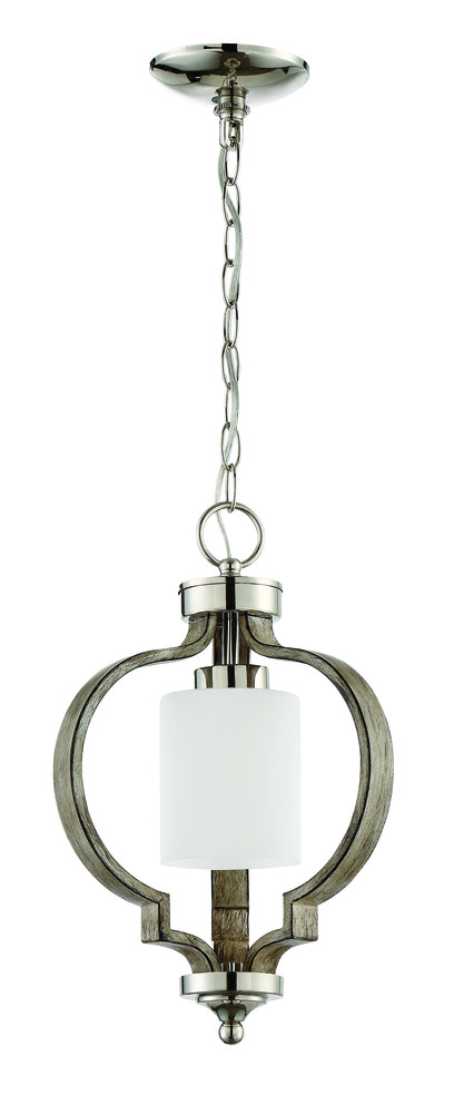 Lighting Etc. in North Richland Hills, Texas, United States, Craftmade 46791-PLNWF, Jasmine 1 Light Pendant in Polished Nickel and Weathered Fir, Jasmine