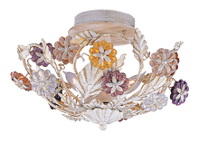 Crystorama 5315-AW - 3 Light Antique White Floral Ceiling Mount Draped In Multi Colored Rosettes