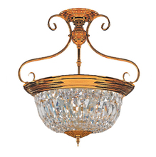 Crystorama 89-PB-CL-MWP - 5 Light Polished Brass Traditional Ceiling Mount Draped In Hand Polished Crystal