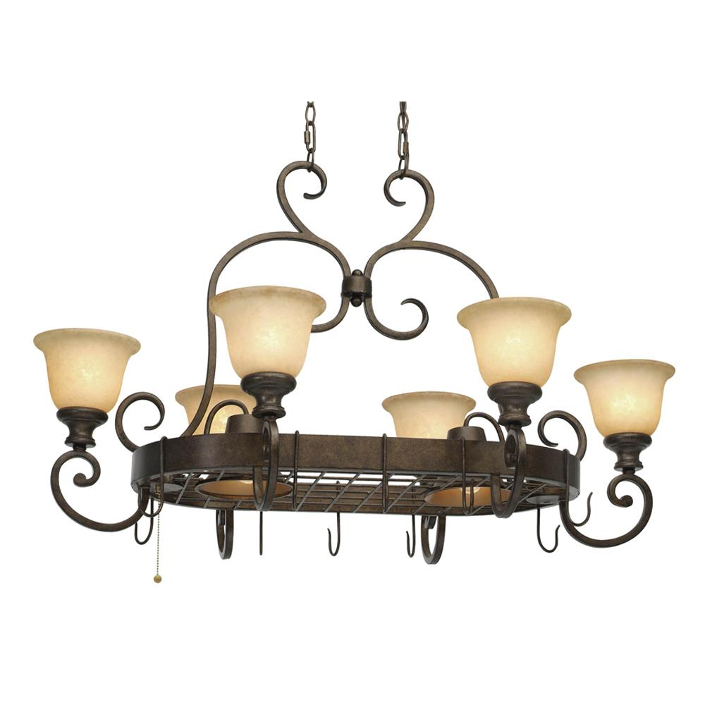 Lighting Etc. in North Richland Hills, Texas, United States, Golden 8063-PR62 BUS, 8 Light Pot Rack, Heartwood