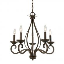 Golden 7221-CN5 RBZ - Whitney RBZ 5 Light Candelabra Chandelier in