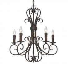 Golden 8606-CN5 RBZ - Homestead RBZ 5 Light Candelabra Chandelier i