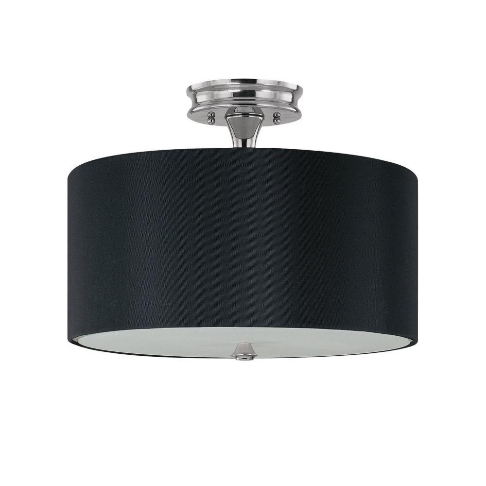 three light polished nickel drum shade semi flush mount 3874pn 509. Black Bedroom Furniture Sets. Home Design Ideas