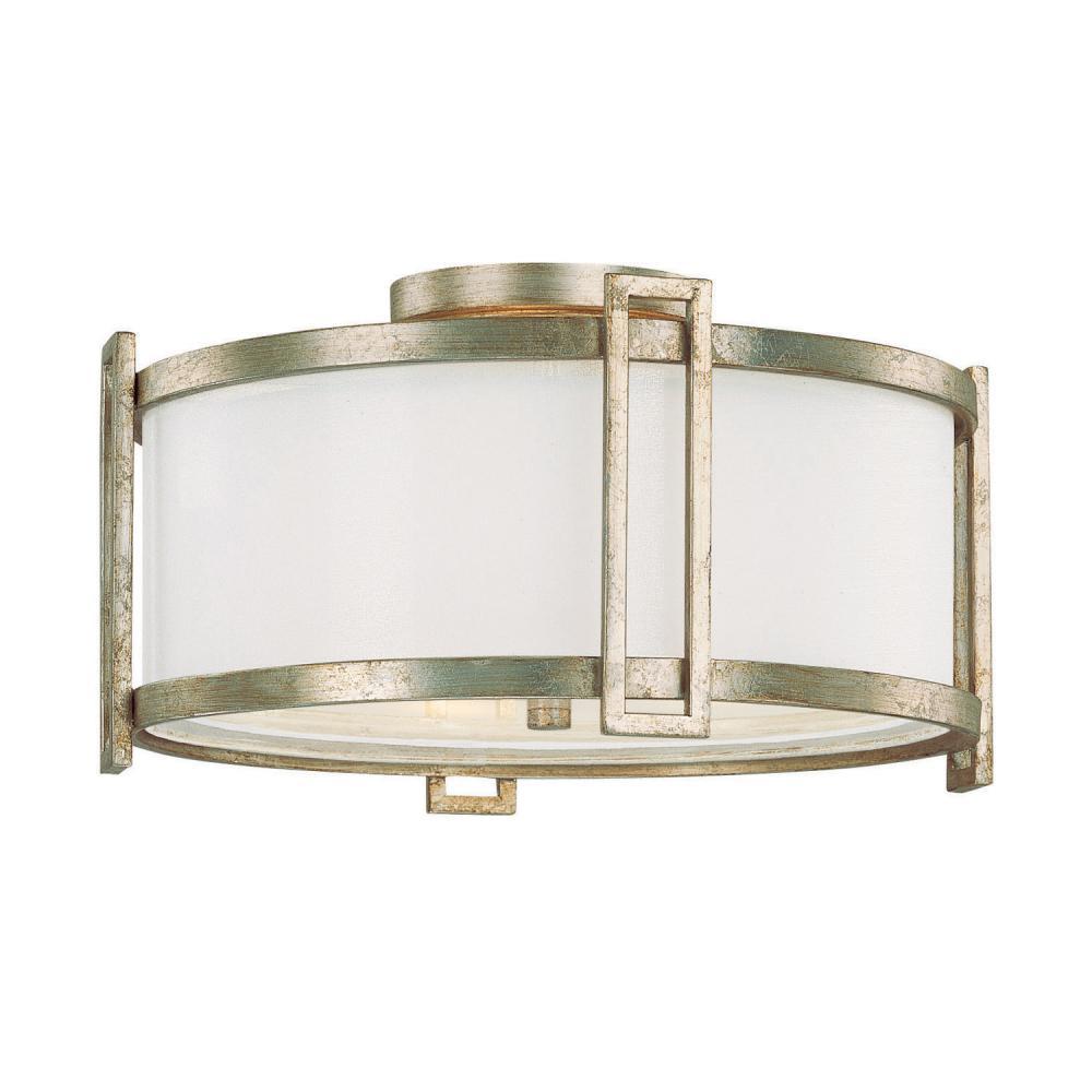 Three Light Winter Gold Drum Shade SemiFlush Mount 9141WG519