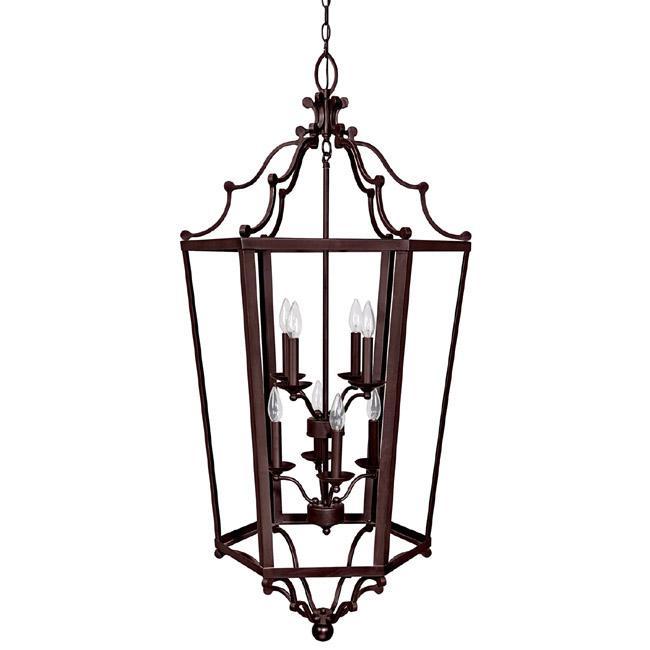 Large Foyer Lantern : Eight light mediterranean bronze foyer hall pendant