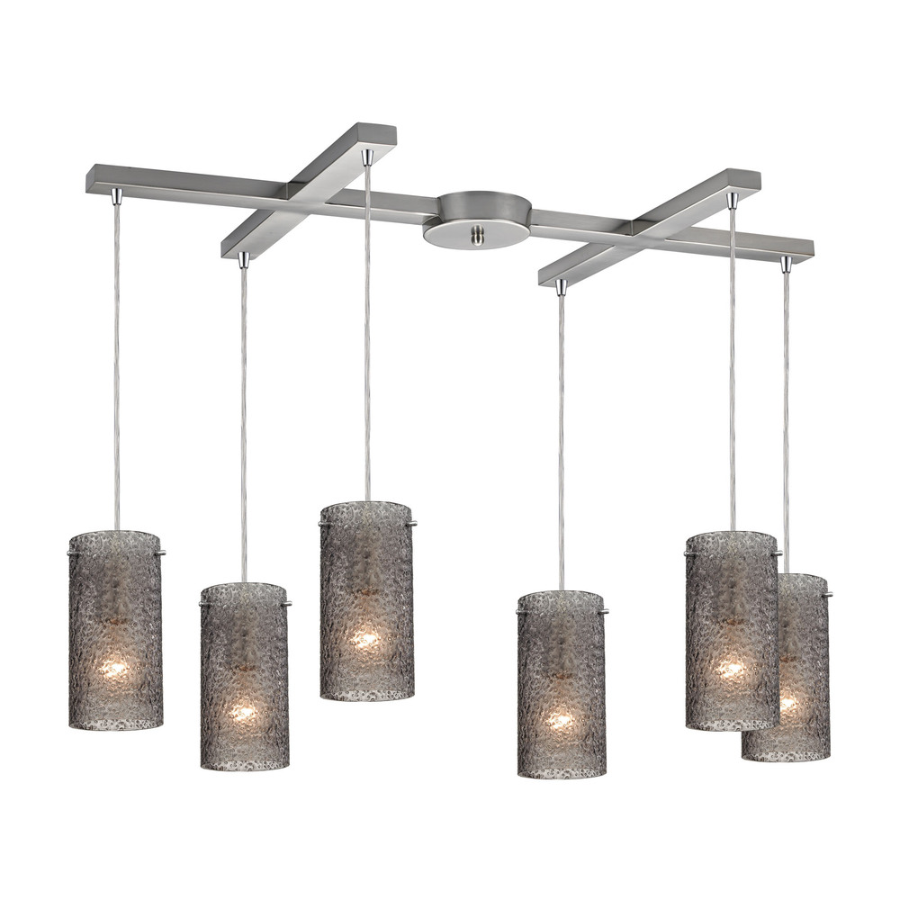 Lighting Etc. in North Richland Hills, Texas, United States, ELK Lighting 10242/6SM, Ice Fragments 6 Light Pendant In Satin Nickel An, Ice Fragments